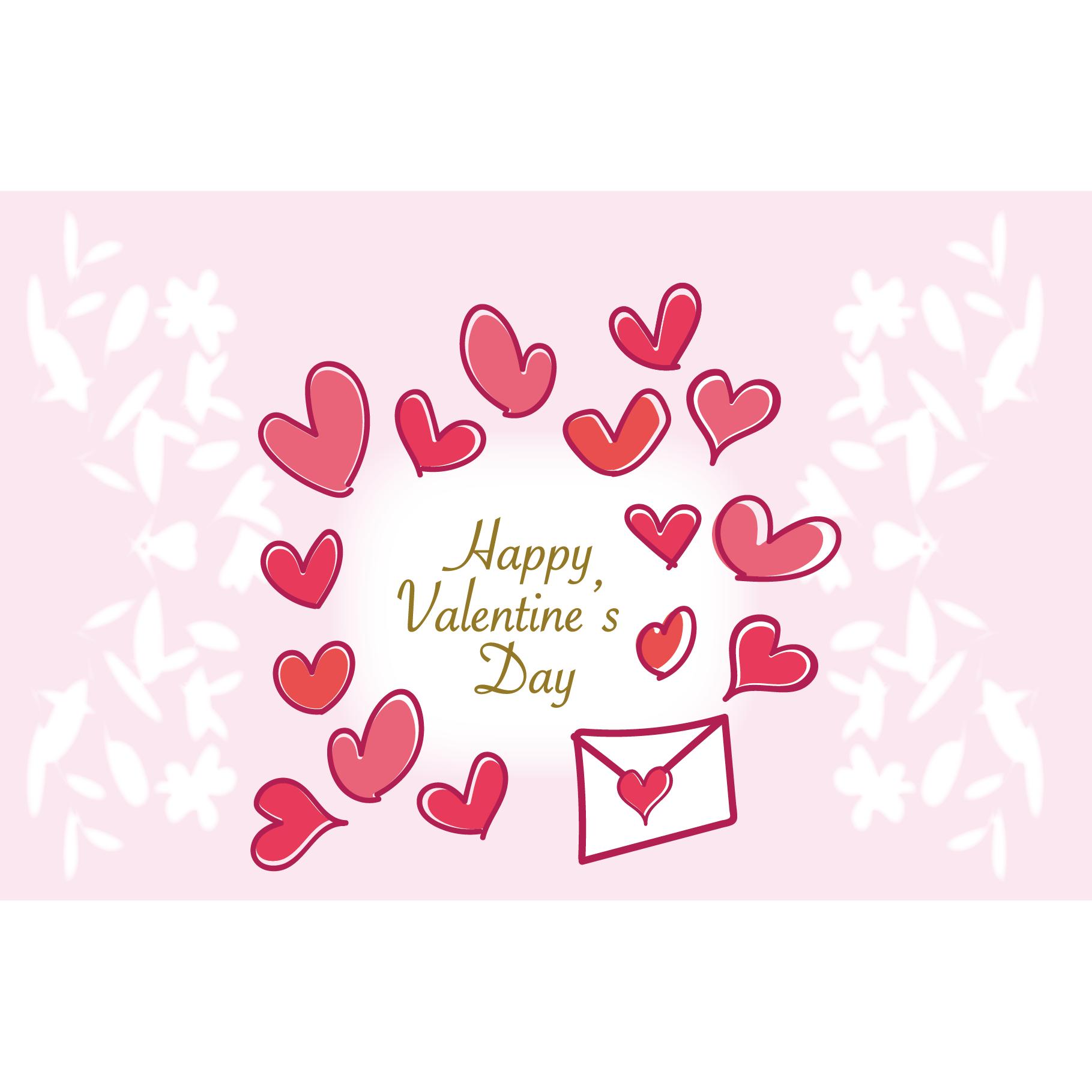 バレンタイン カード 無料 イラスト♪ピンクでかわいい
