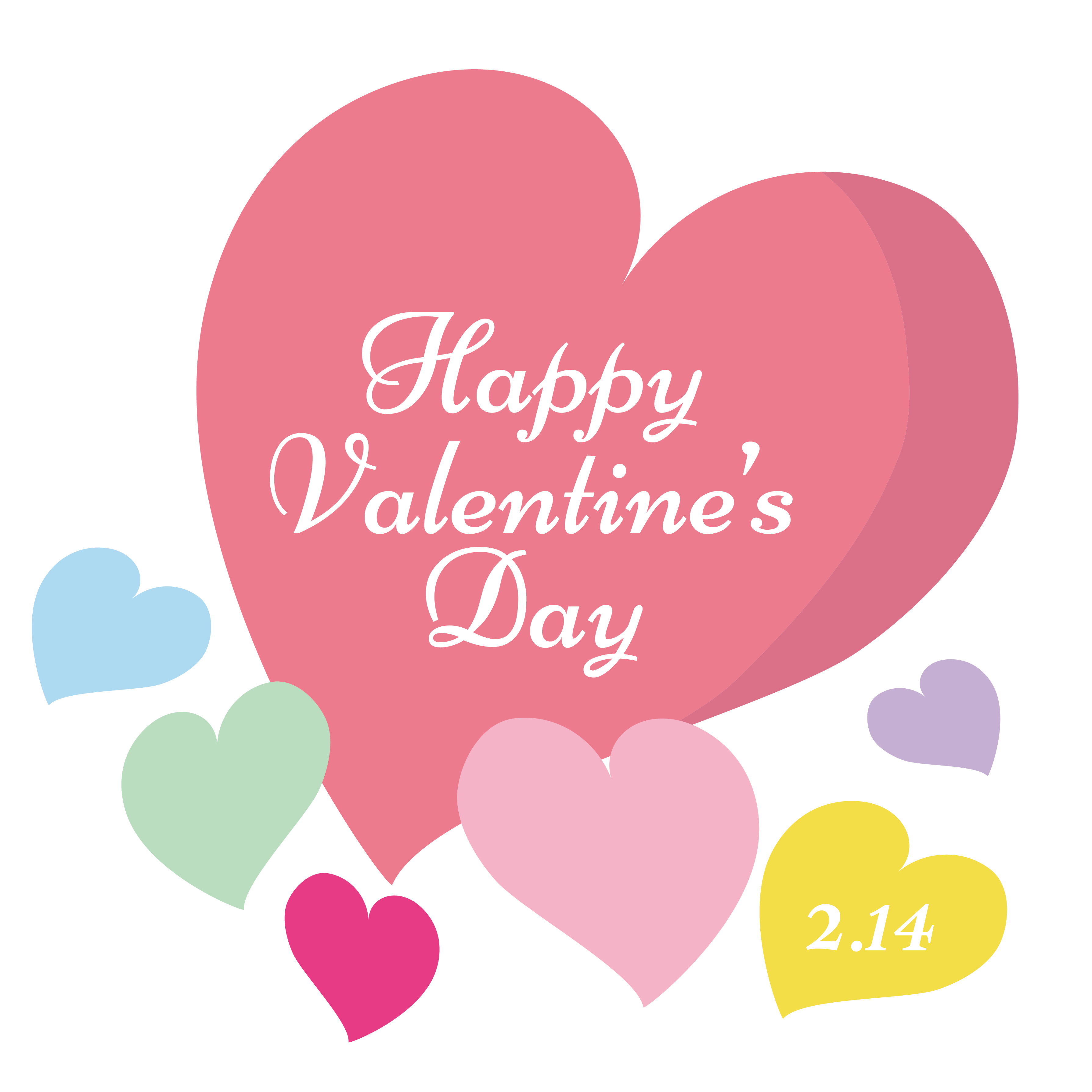 バレンタインデー 英語 ハートマークのロゴイラスト | 商用フリー(無料