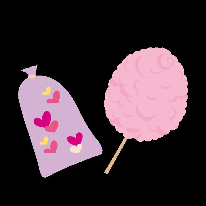 お祭り♪ かわいい♪ ピンクの綿あめ の 無料 イラスト
