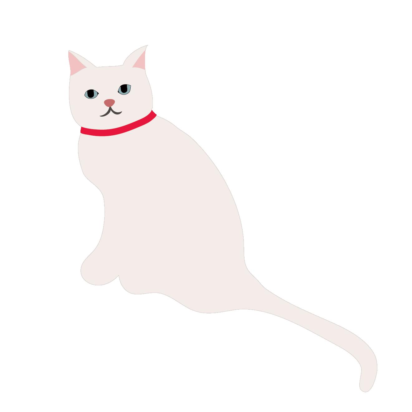 かわいい!白猫(ホワイトキャット)の 無料 イラスト