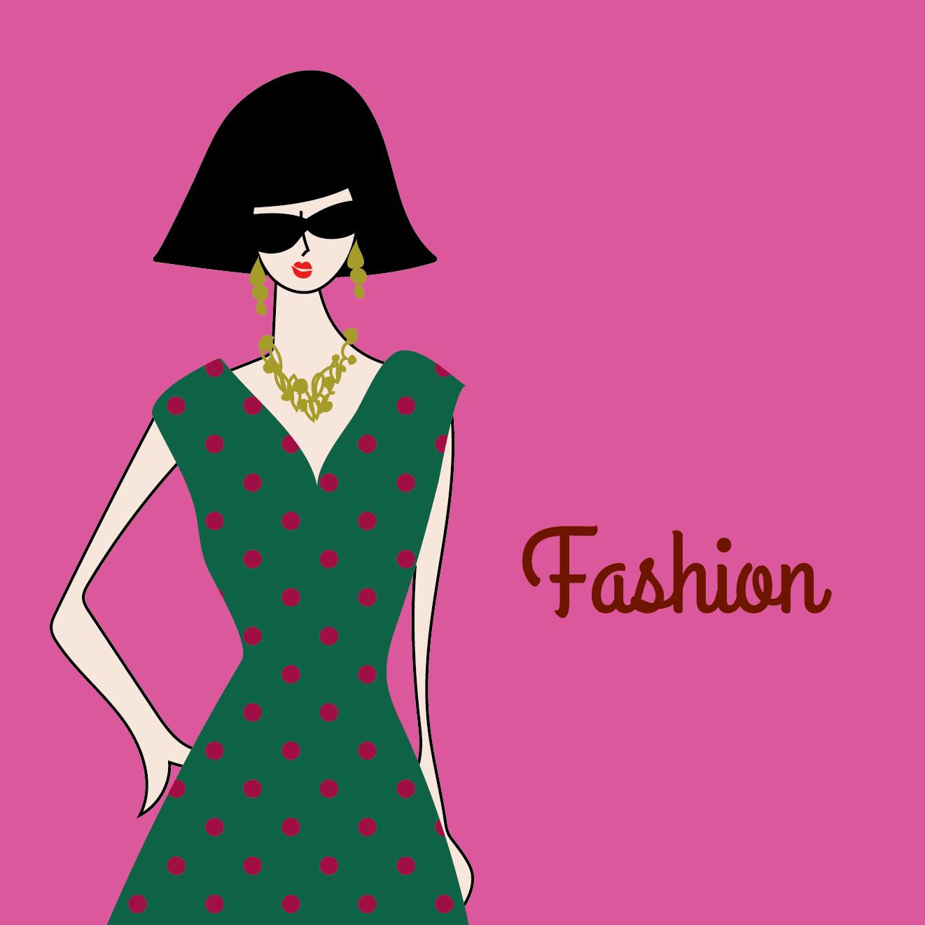 おかっぱボブヘアー女性がオシャレな夏服ワンピースを着たイラスト