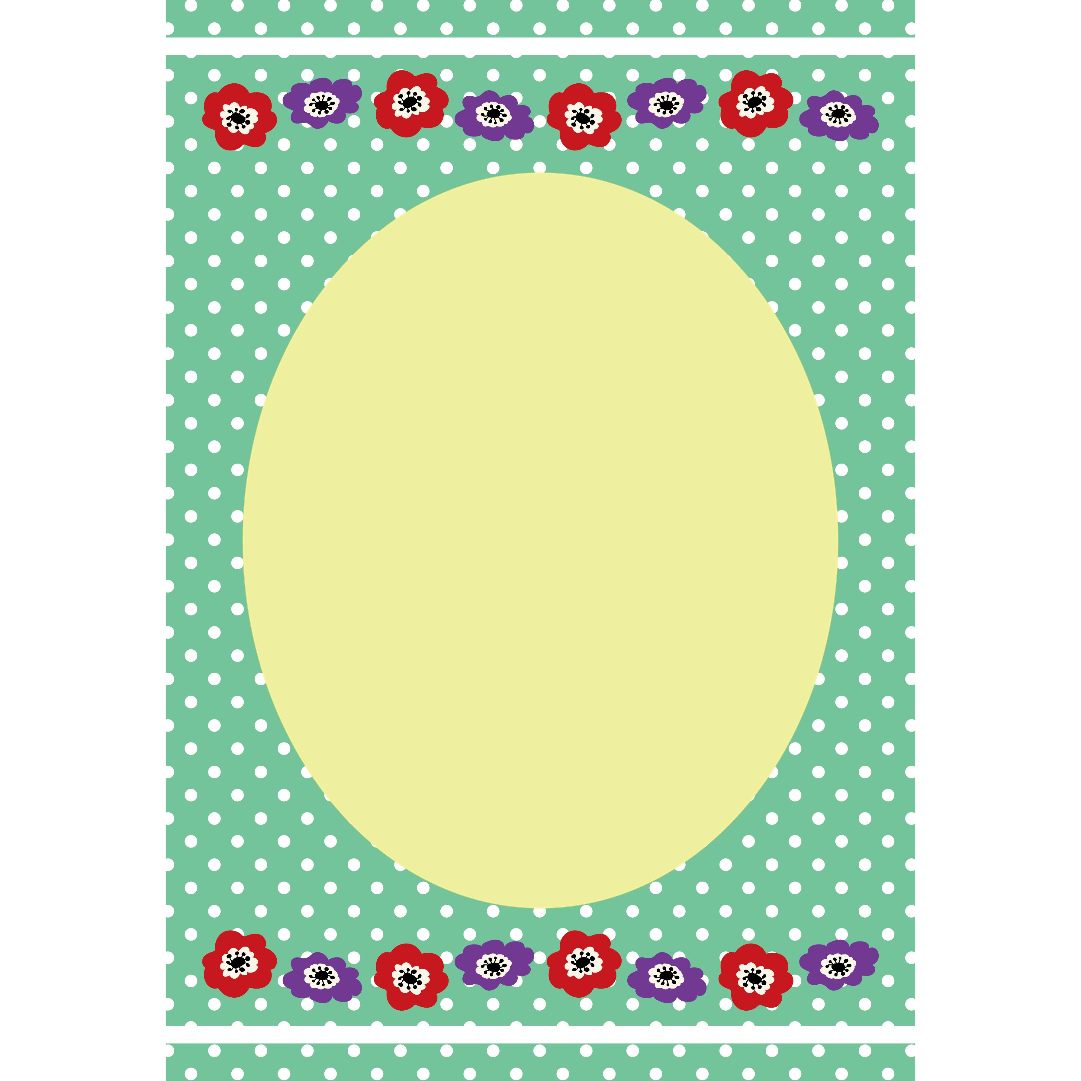 かわいい水玉のアネモネフレーム(便箋・枠)イラスト A4サイズ