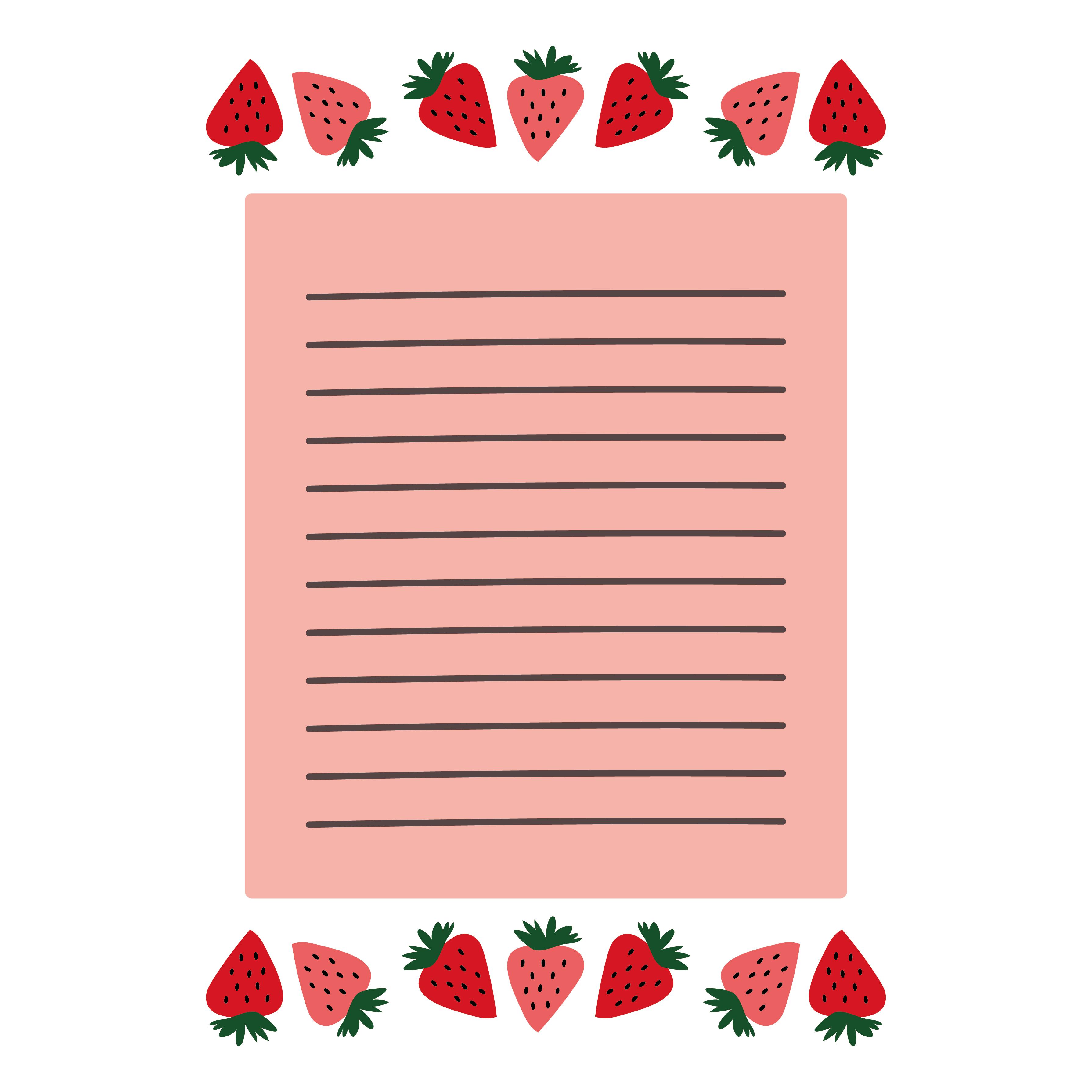 苺(いちご)のちょっとレトロなフレーム(便箋・枠)のイラスト A4サイズ