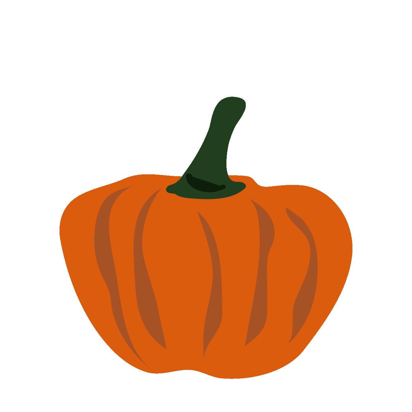 オレンジ色の南瓜(カボチャ・かぼちゃ)のイラスト【野菜】