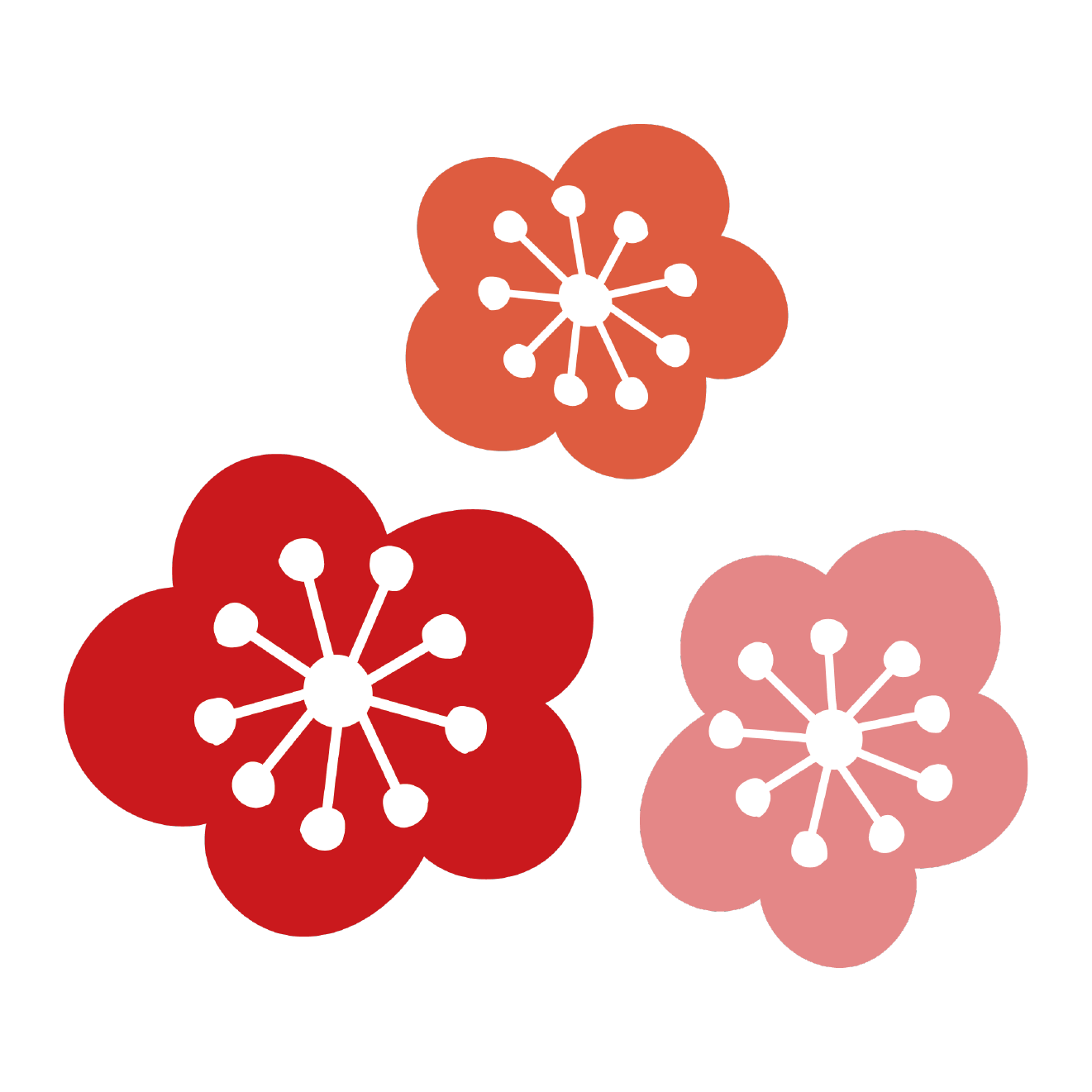 花かわいい梅ウメの花のイラスト 商用フリー無料のイラスト