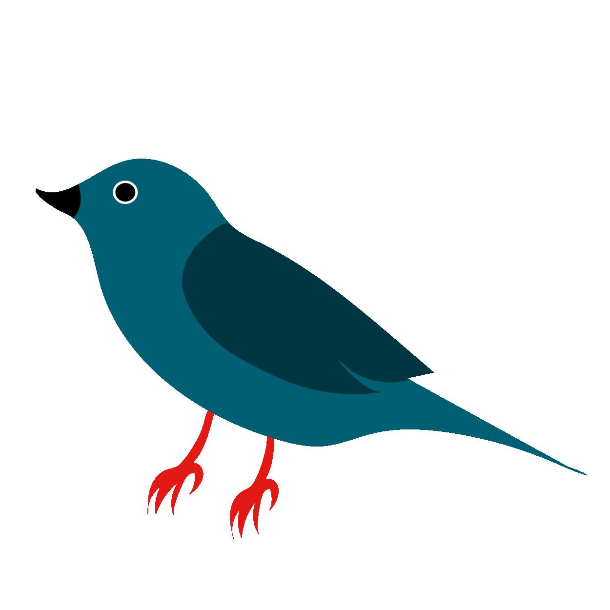 シンプルな青い鳥(バード)のイラスト 年賀状ワンポイントイラスト