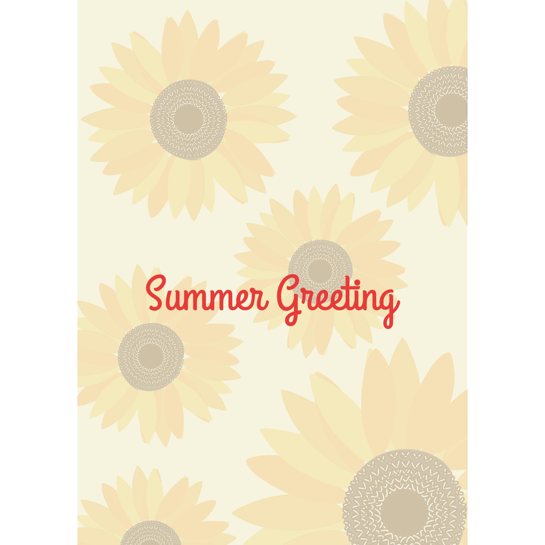 【暑中・残暑見舞い・縦】ひまわりの夏のグリーティング イラスト