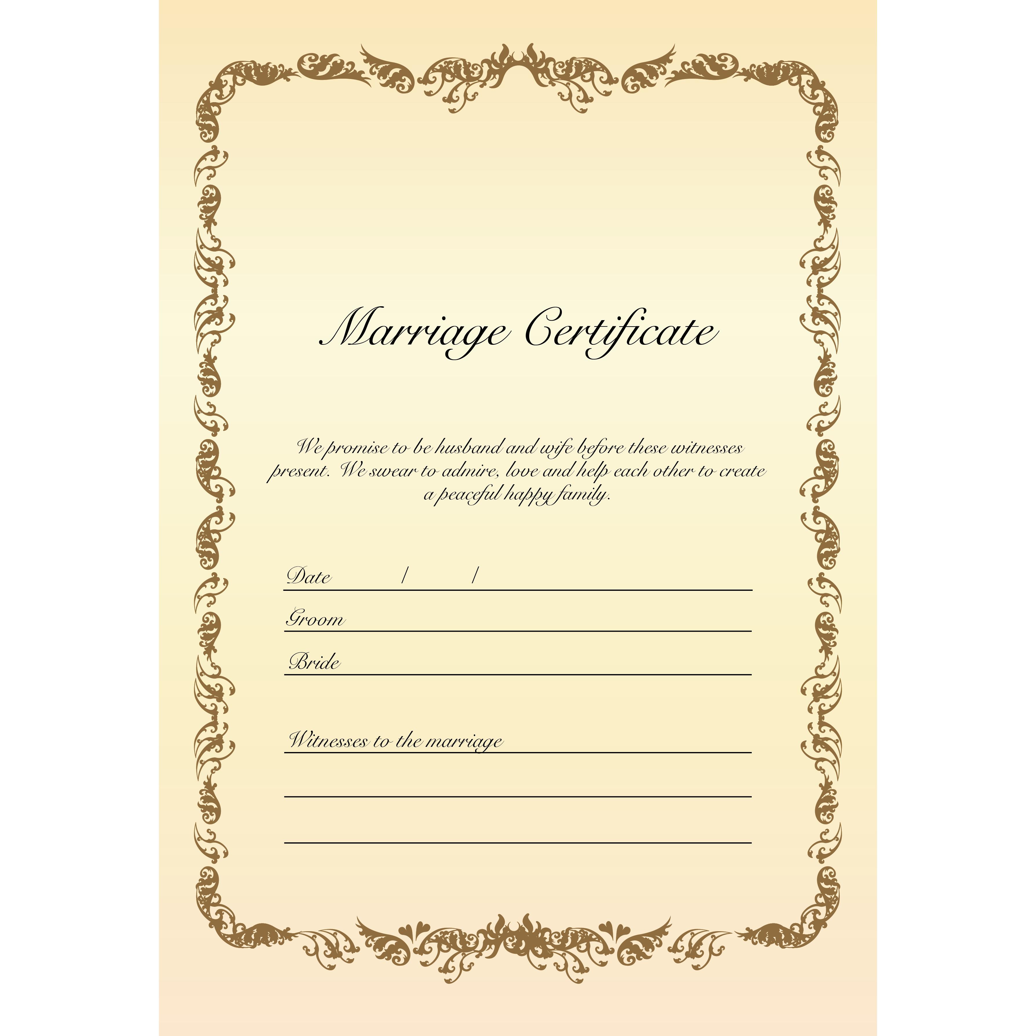 結婚証明書 テンプレート イラスト♪シンプルおしゃれに【縦】 商用フリー 無料 のイラスト素材なら「イラストマンション」