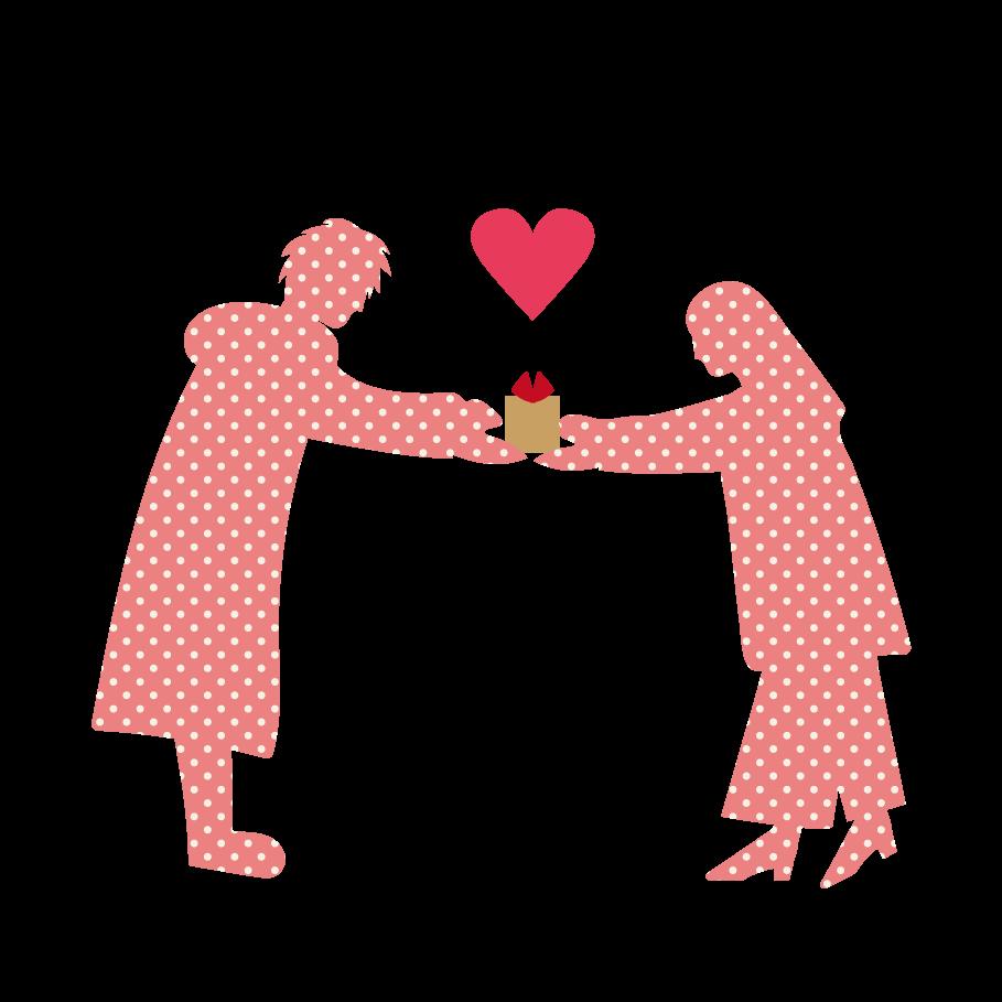 バレンタイン♫かわいい!ハートとカップルの イラスト | 商用フリー