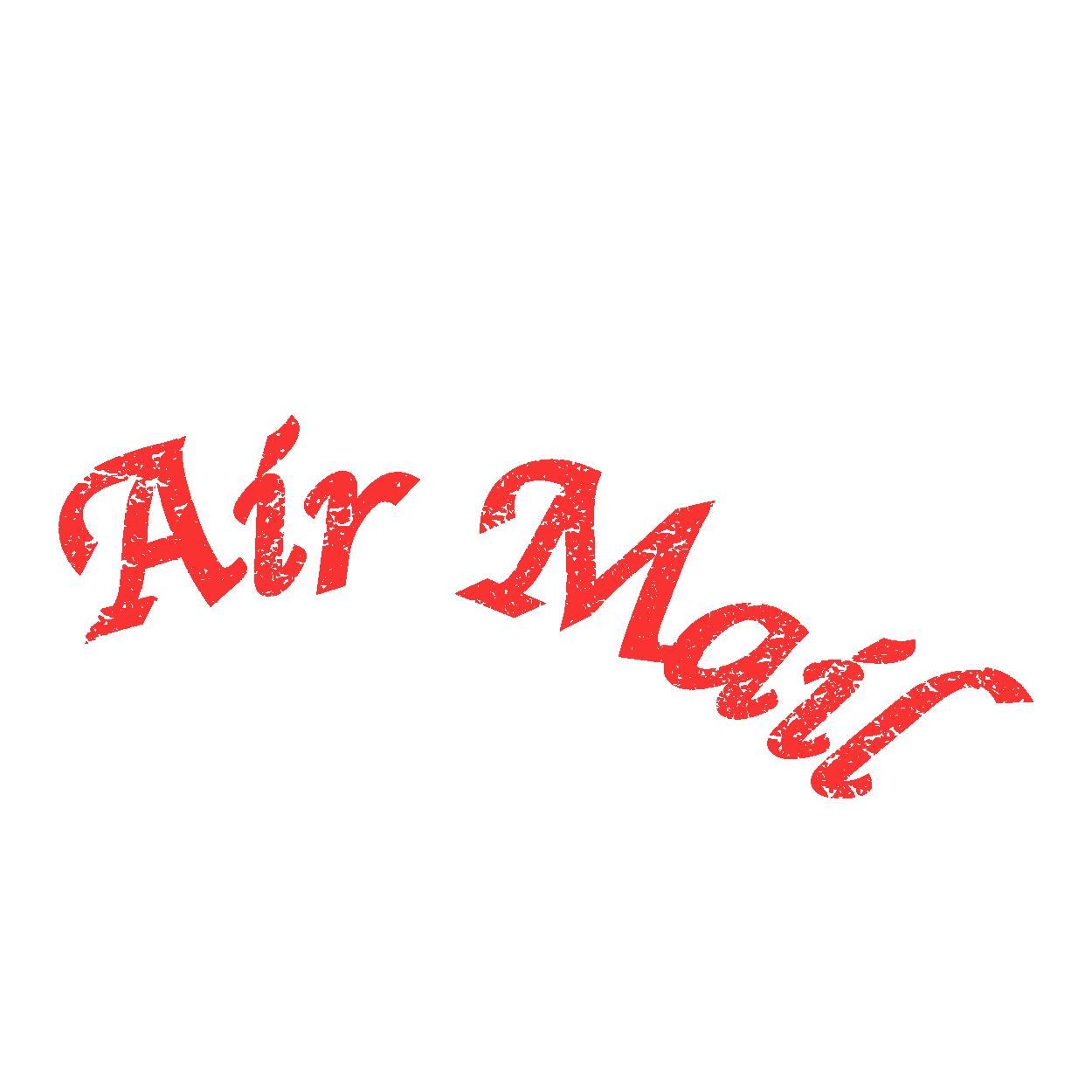 アーチスタイルの air mail(エアメール)と スタンプのイラスト | 商用