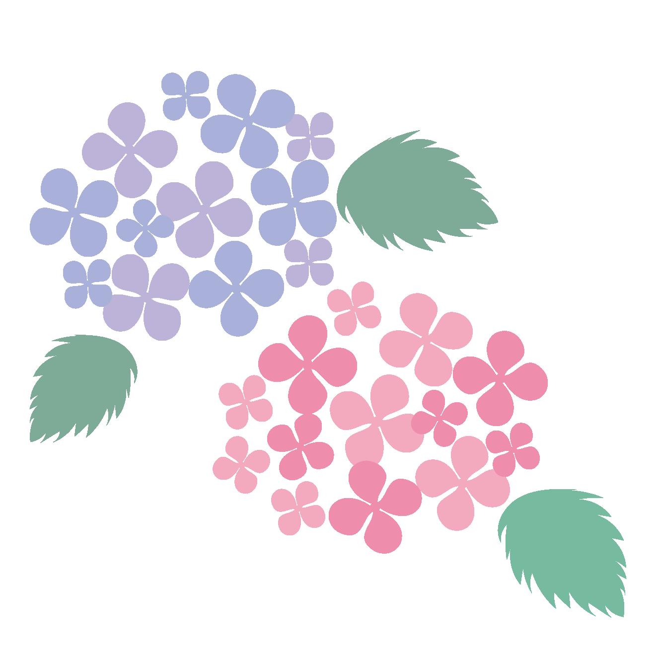 パステル調の紫陽花(アジサイ)の花 フリー イラスト【梅雨】