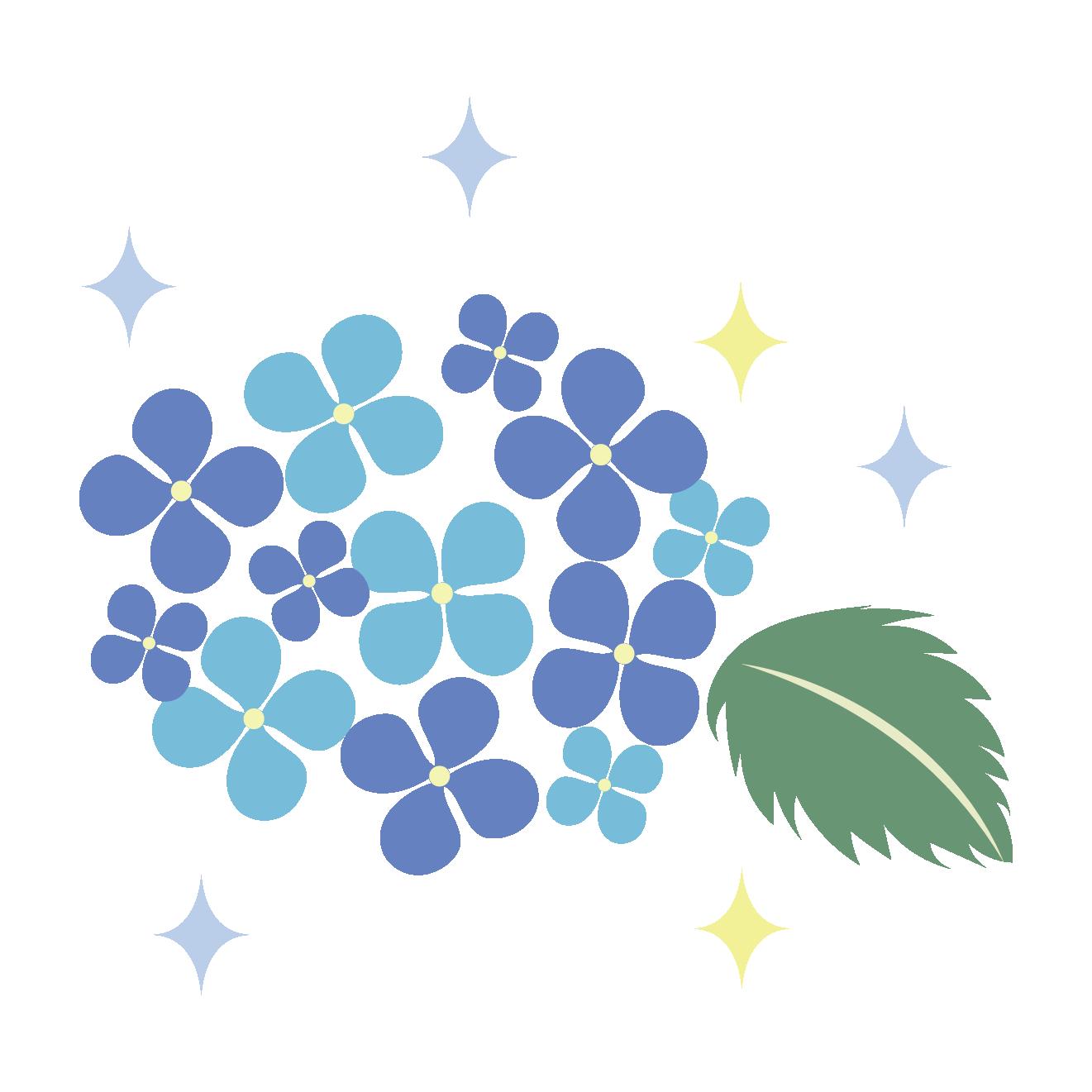 ブルーの紫陽花(アジサイ)フリー イラスト