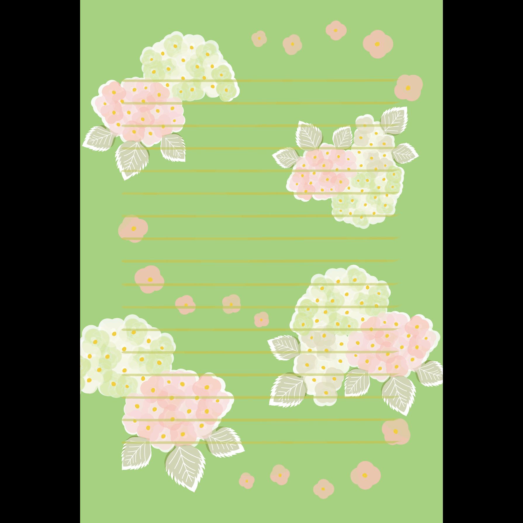 おしゃれ♪ 綺麗な 紫陽花(アジサイ)の便箋 (縦型)イラスト