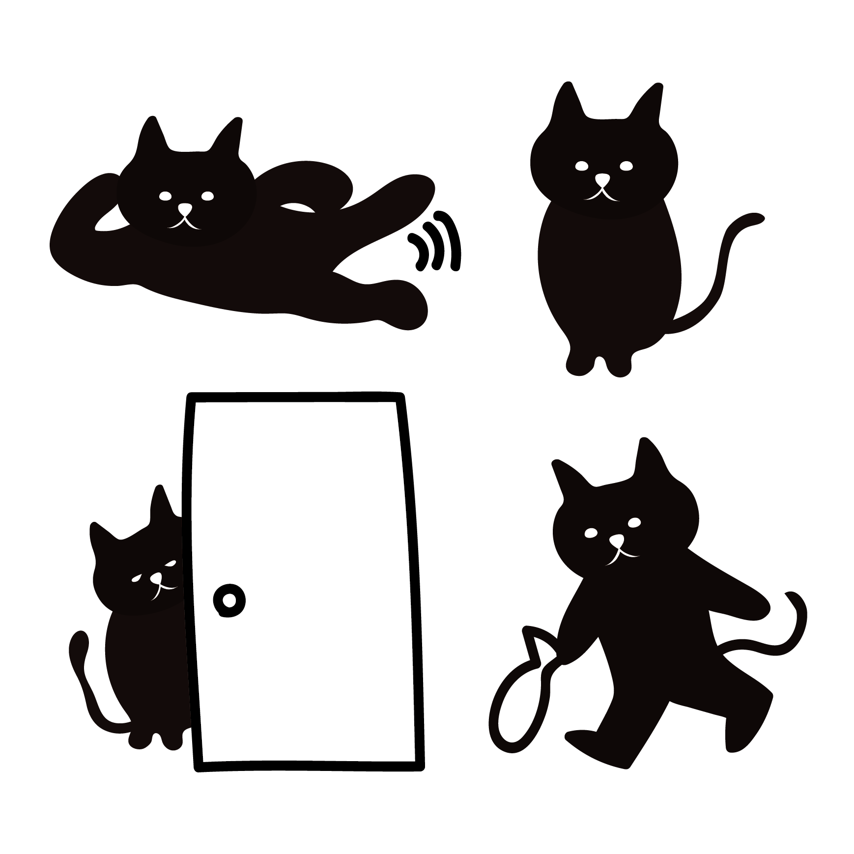 黒猫(くろねこ・ブラックキャット)の4つの日常 かわいい イラスト