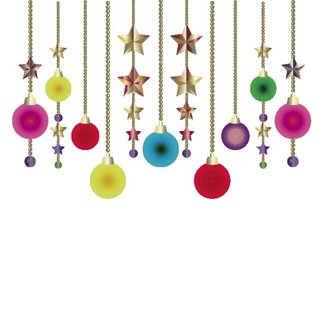 クリスマスのカラフルな飾りボール型星型オーナメントイラスト