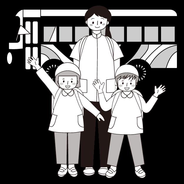 かわいい!遠足 !バス と子供と先生!無料 白黒 (モノクロ) イラスト