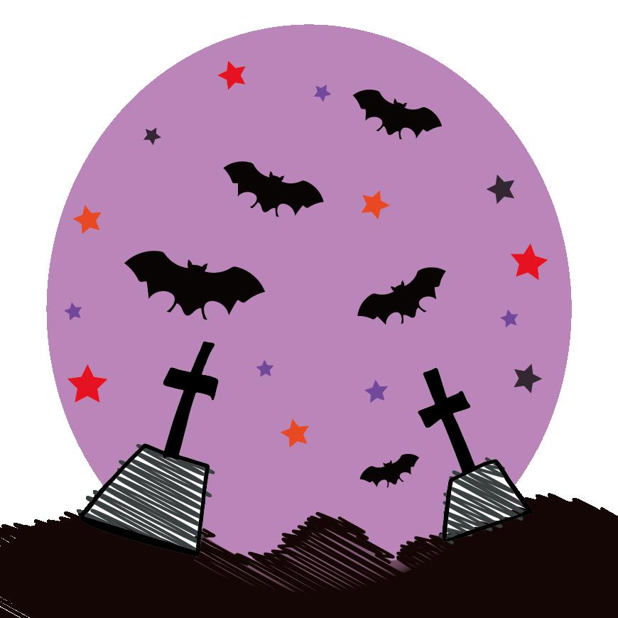 ハロウィンの手書き風♪かっこいい コウモリ  無料 イラスト