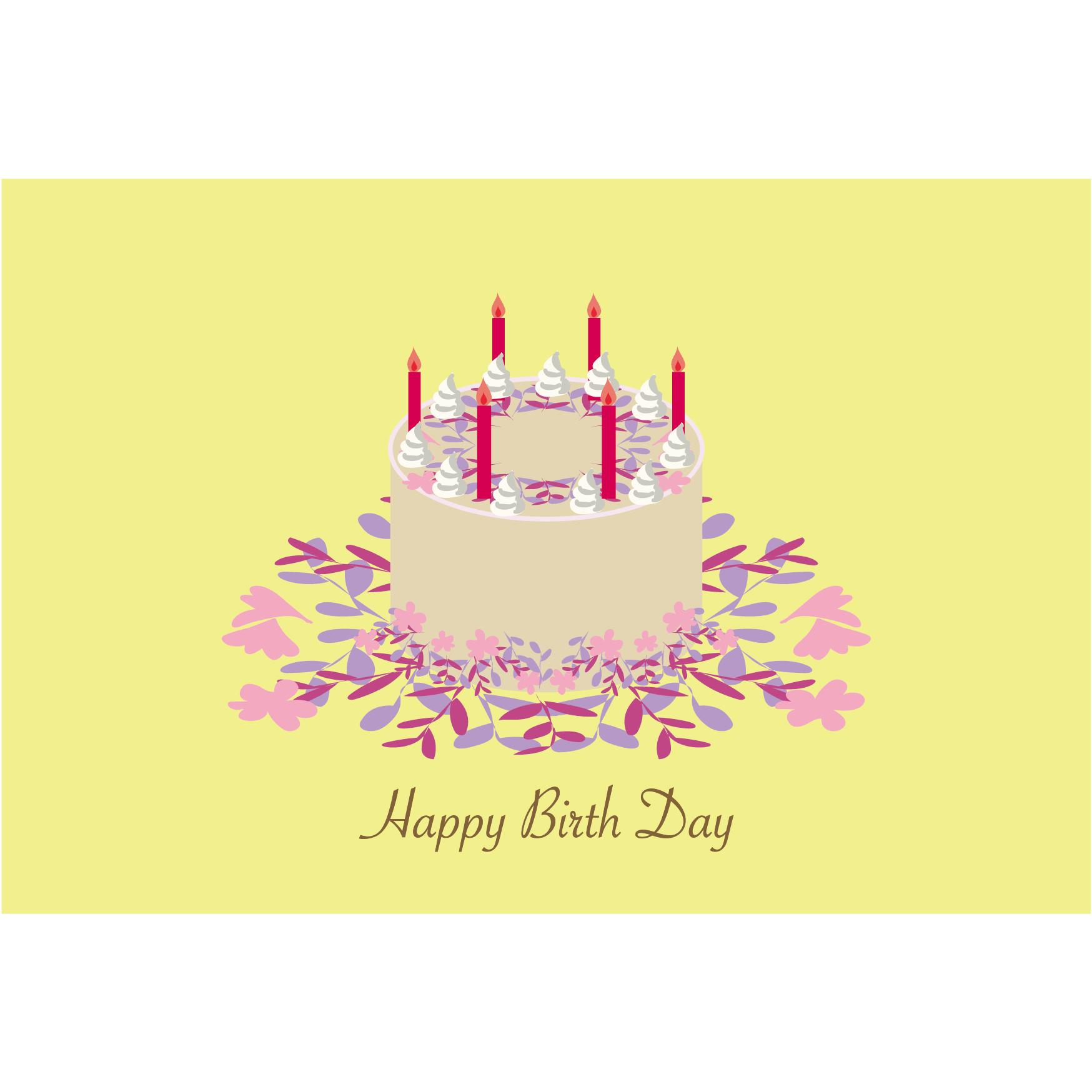 誕生日ケーキのグリーティングカード 無料 イラスト