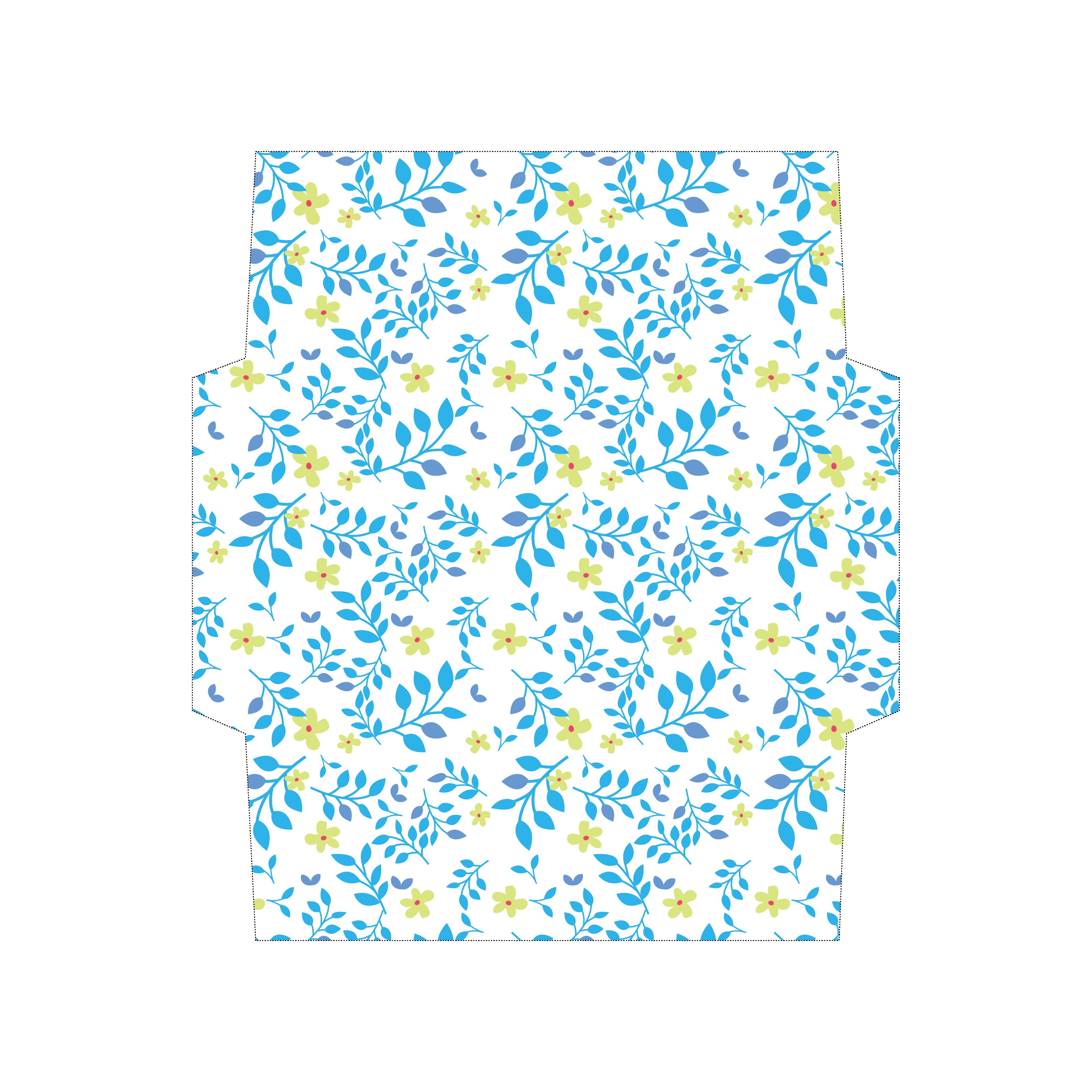 封筒 テンプレート 葉っぱ&花柄 縦横自在!イラスト