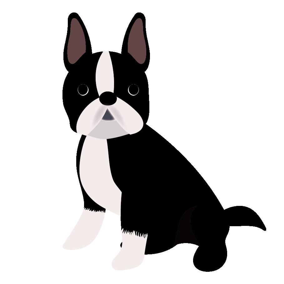 ボストンテリア(犬)のかわいい フリー イラスト | 商用フリー(無料