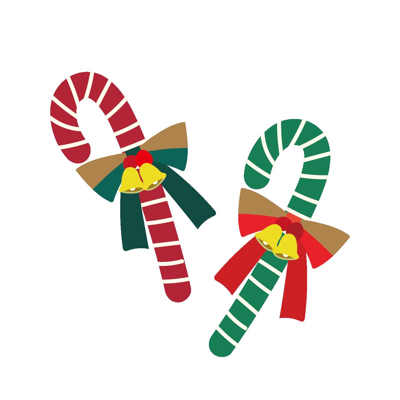 クリスマスキャンディー(飴:あめ)の 無料 イラスト
