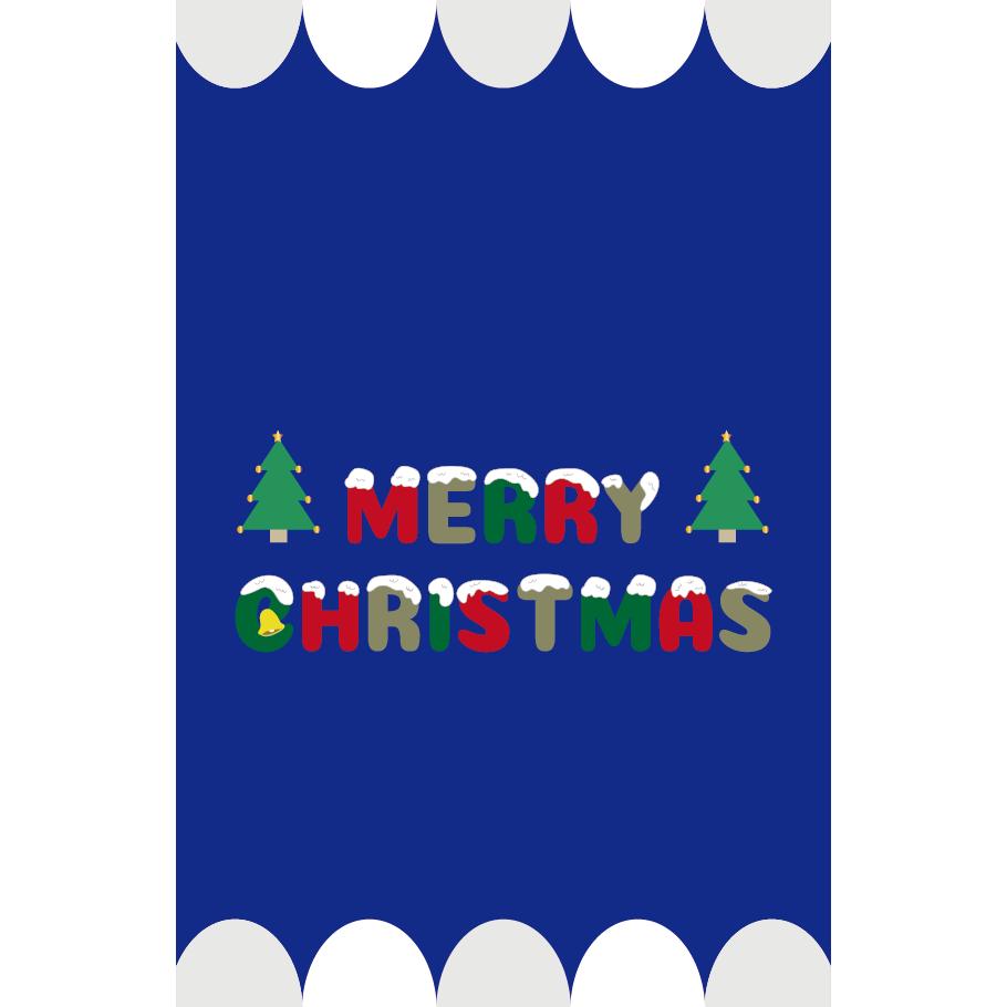 かわいい♪子供も喜ぶ「 クリスマスカード」ブルーカラーイラスト(縦)