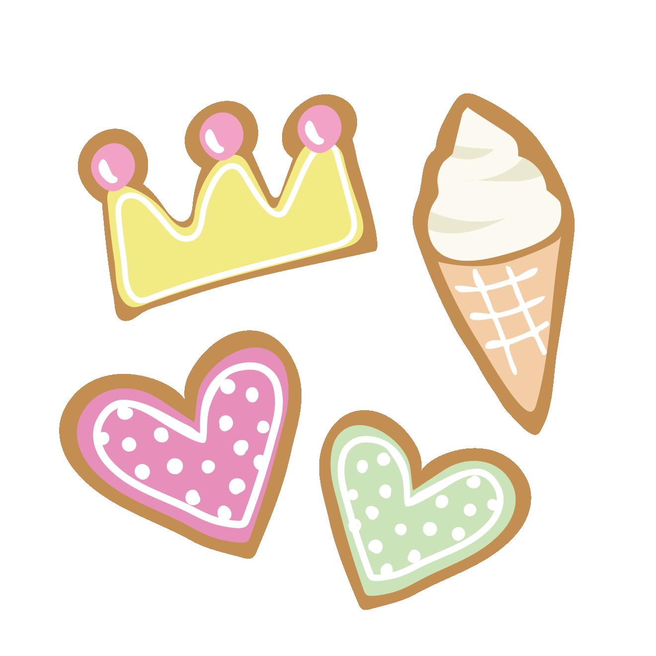 可愛いアイシングクッキーハートにティアラ型のイラスト 商用