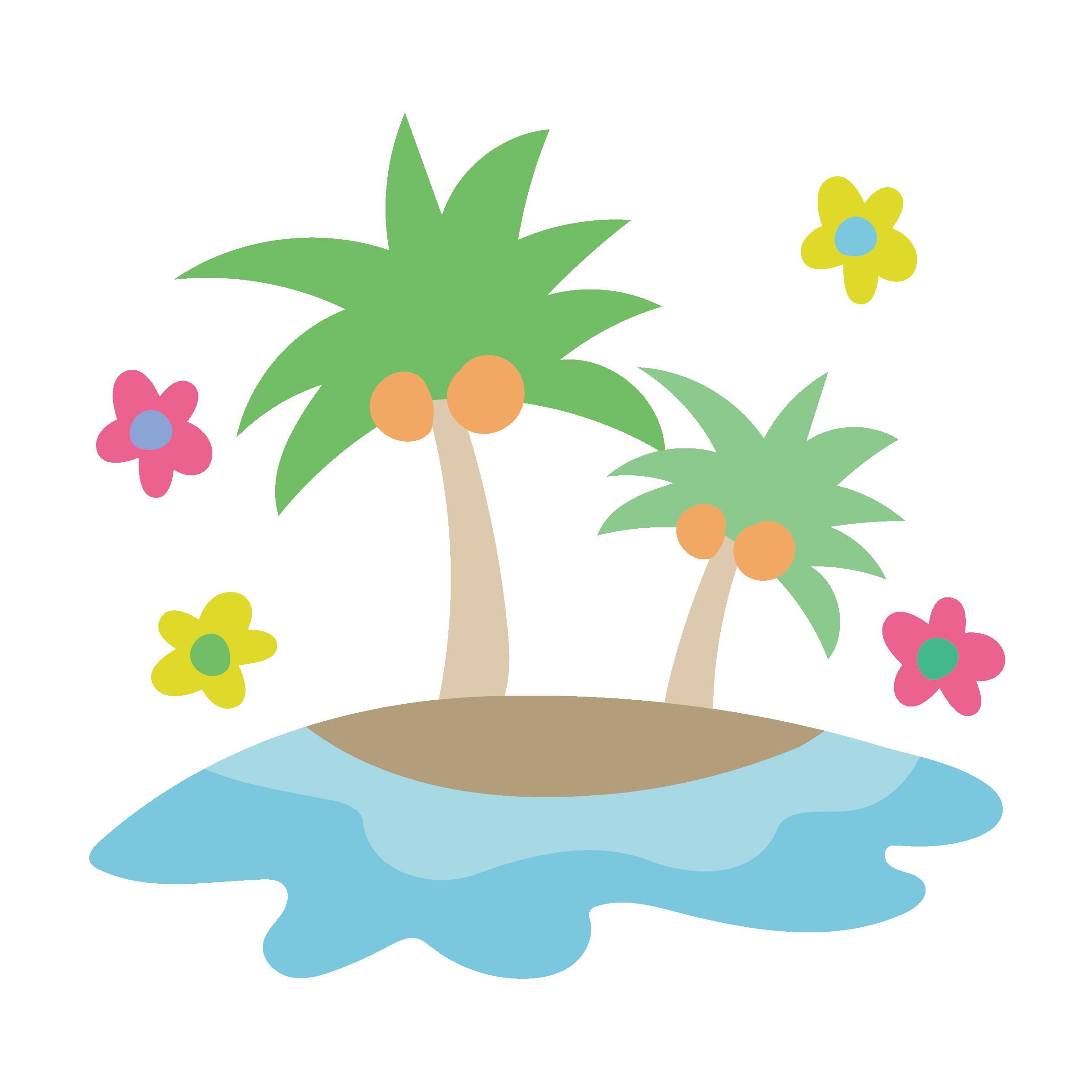 かわいい♪ヤシの木のイラスト【夏素材】   商用フリー(無料)のイラスト