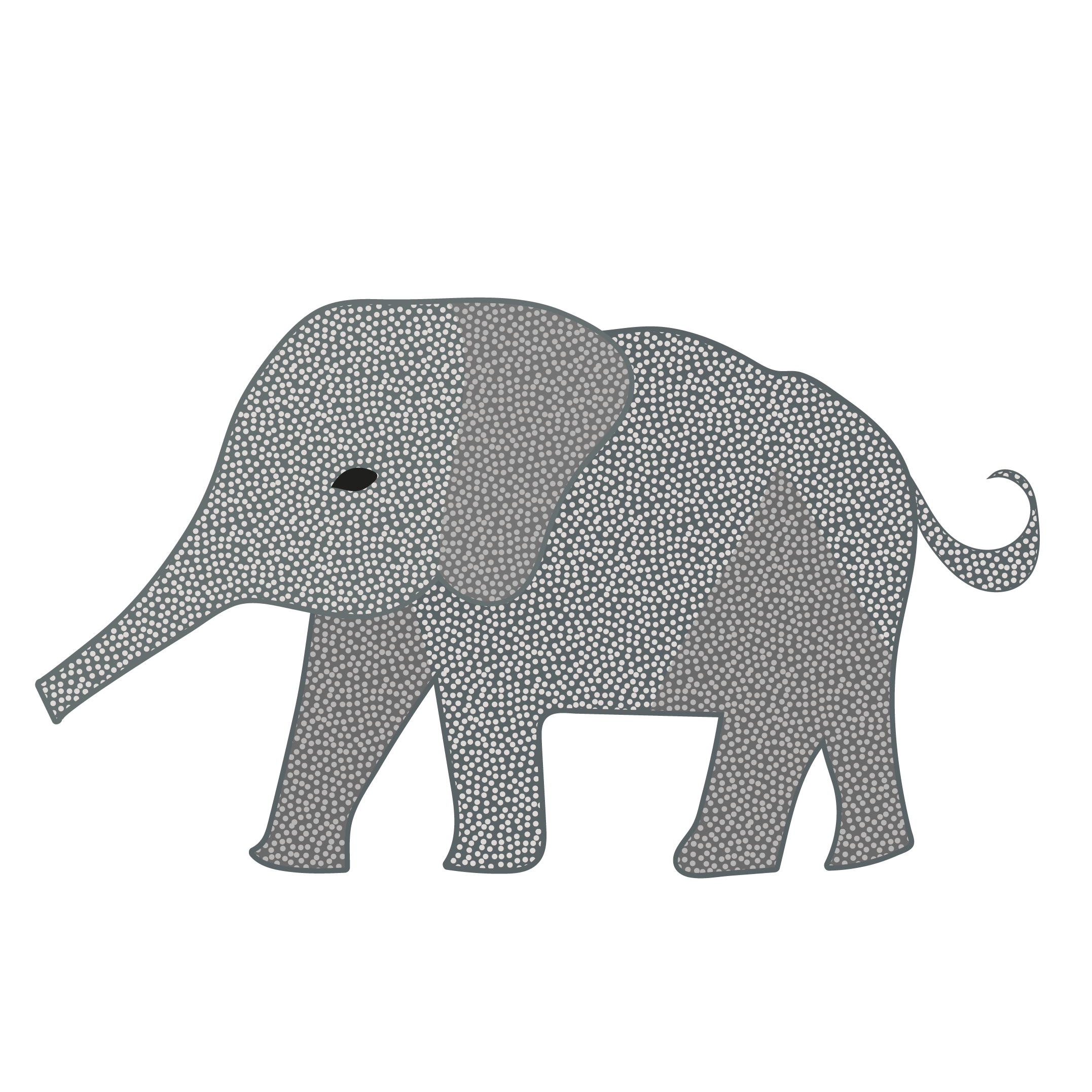 おしゃれな象(ゾウ)のイラスト【動物】 | 商用フリー(無料)の