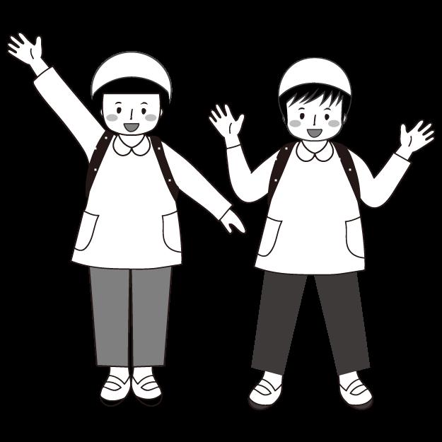 かわいい!遠足 白黒(モノクロ)無料  子供 イラスト