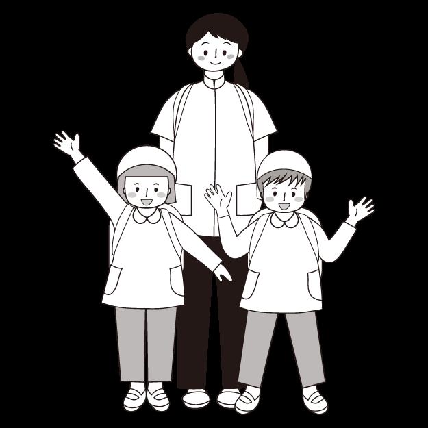 かわいい!子供と先生!遠足 白黒(モノクロ)無料 イラスト