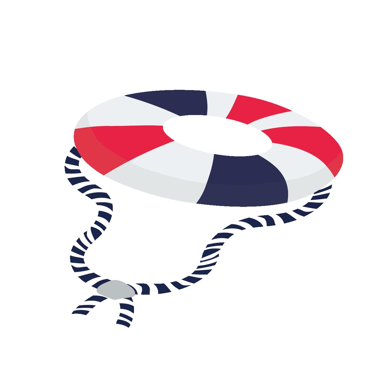 オシャレな紐付き 浮き輪うきわのイラスト 商用フリー無料の
