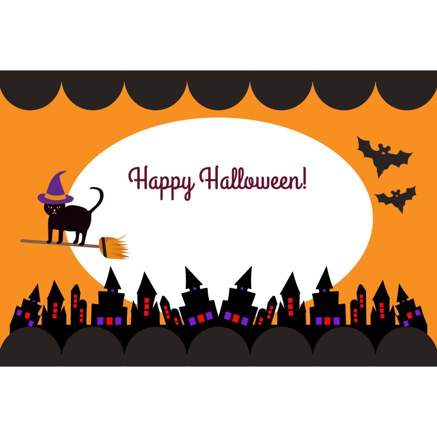 ハロウィンのグリーティングカード クロネコ魔女(横) イラスト