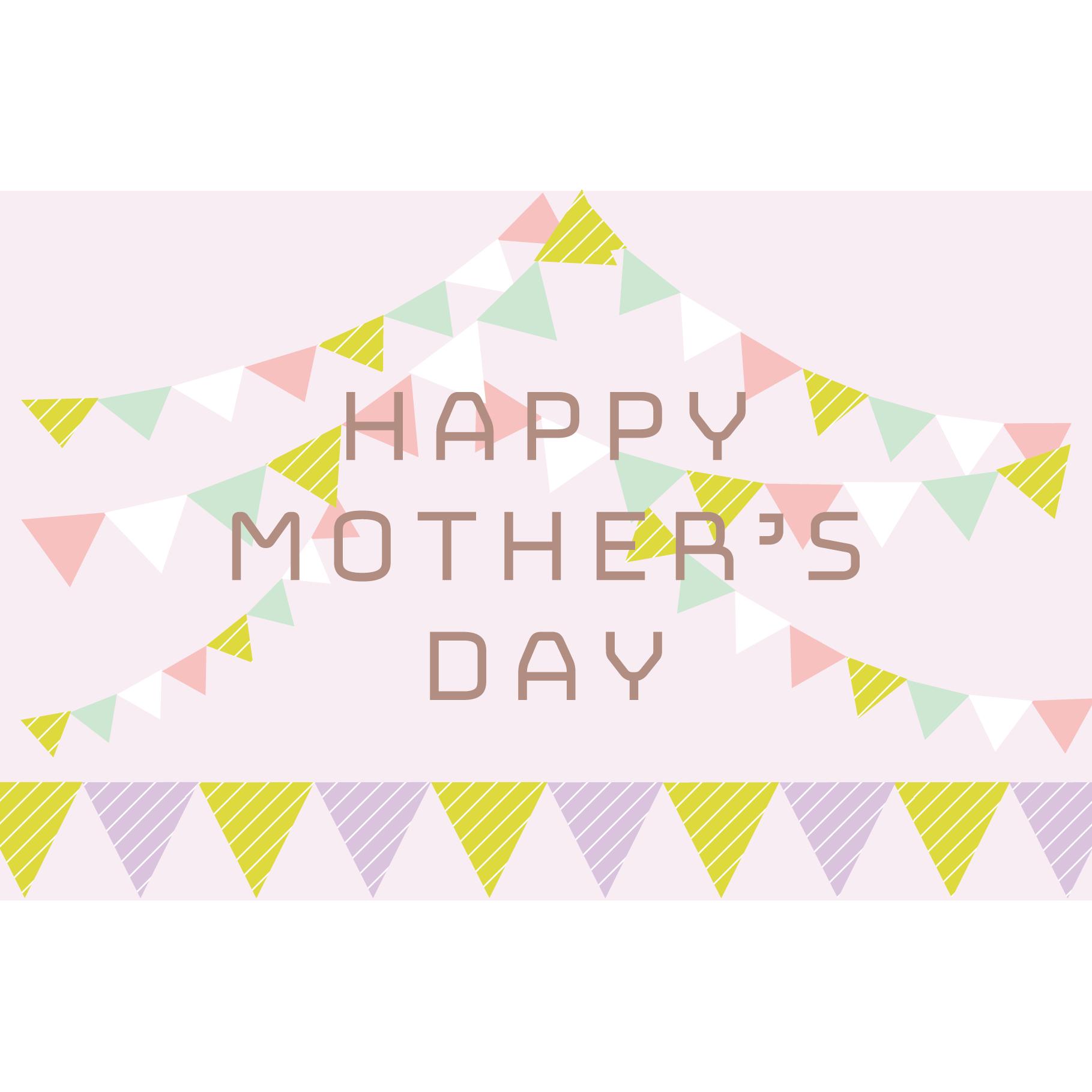 母の日 メッセージ!かわいいガーランドデザインのカード  イラスト