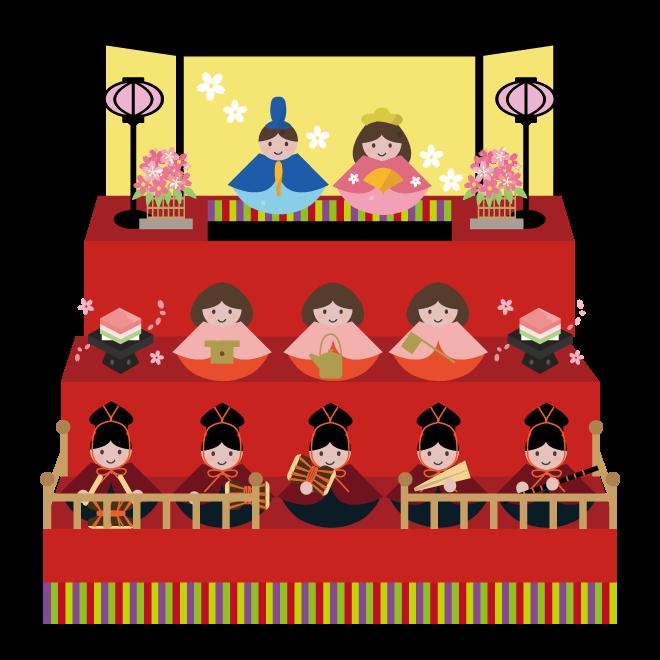 ひな祭り!かわいい雛人形(三段飾り)の  無料 イラスト