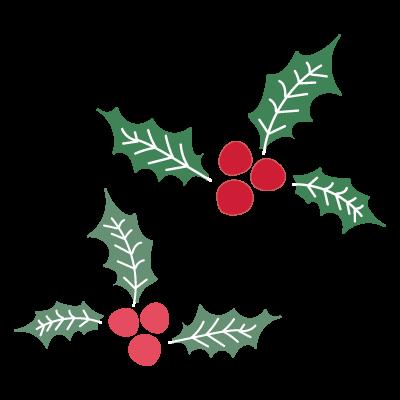 かわいい!【クリスマス】柊(ヒイラギ)の葉と実の 無料 イラスト