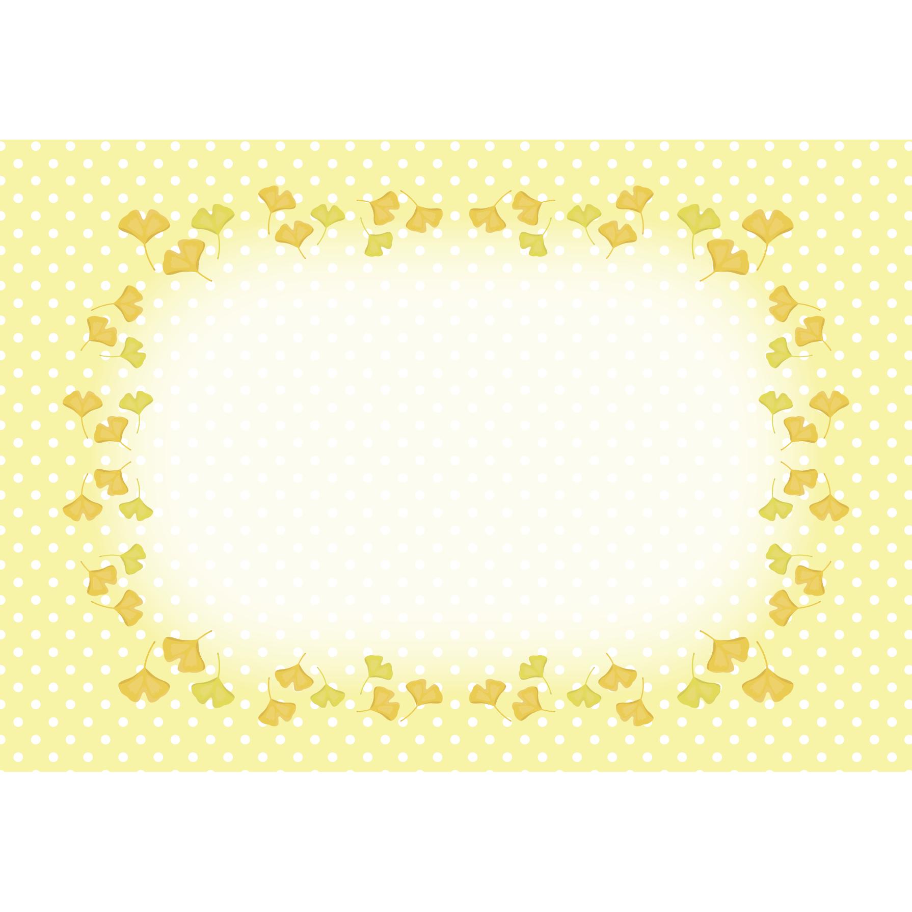 秋♪イチョウの葉っぱ! かわいい フレーム イラスト   商用フリー
