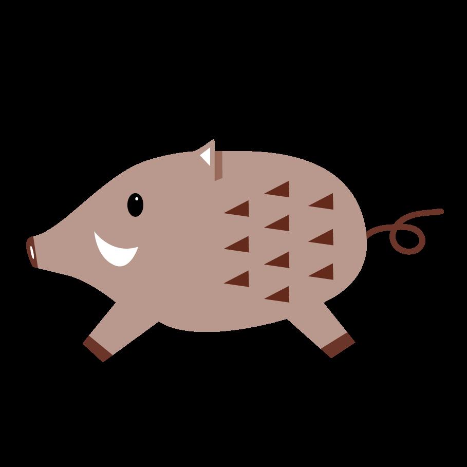 かわいい♪イノシシ(猪)のワンポイント イラスト