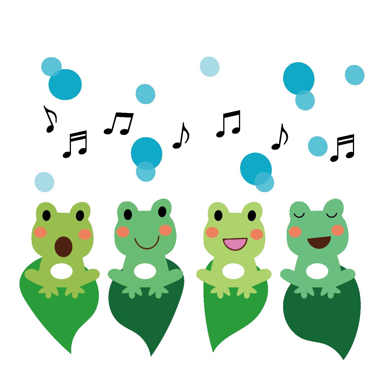 かわいい♪カエル(蛙)合唱のイラスト【梅雨】 | 商用フリー(無料)の