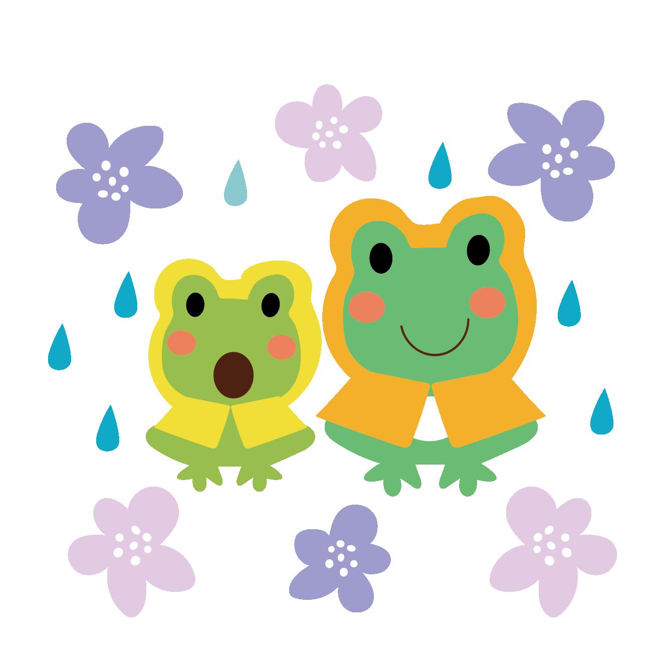 レインコートを着た カエル蛙の親子のイラスト梅雨 商用フリー