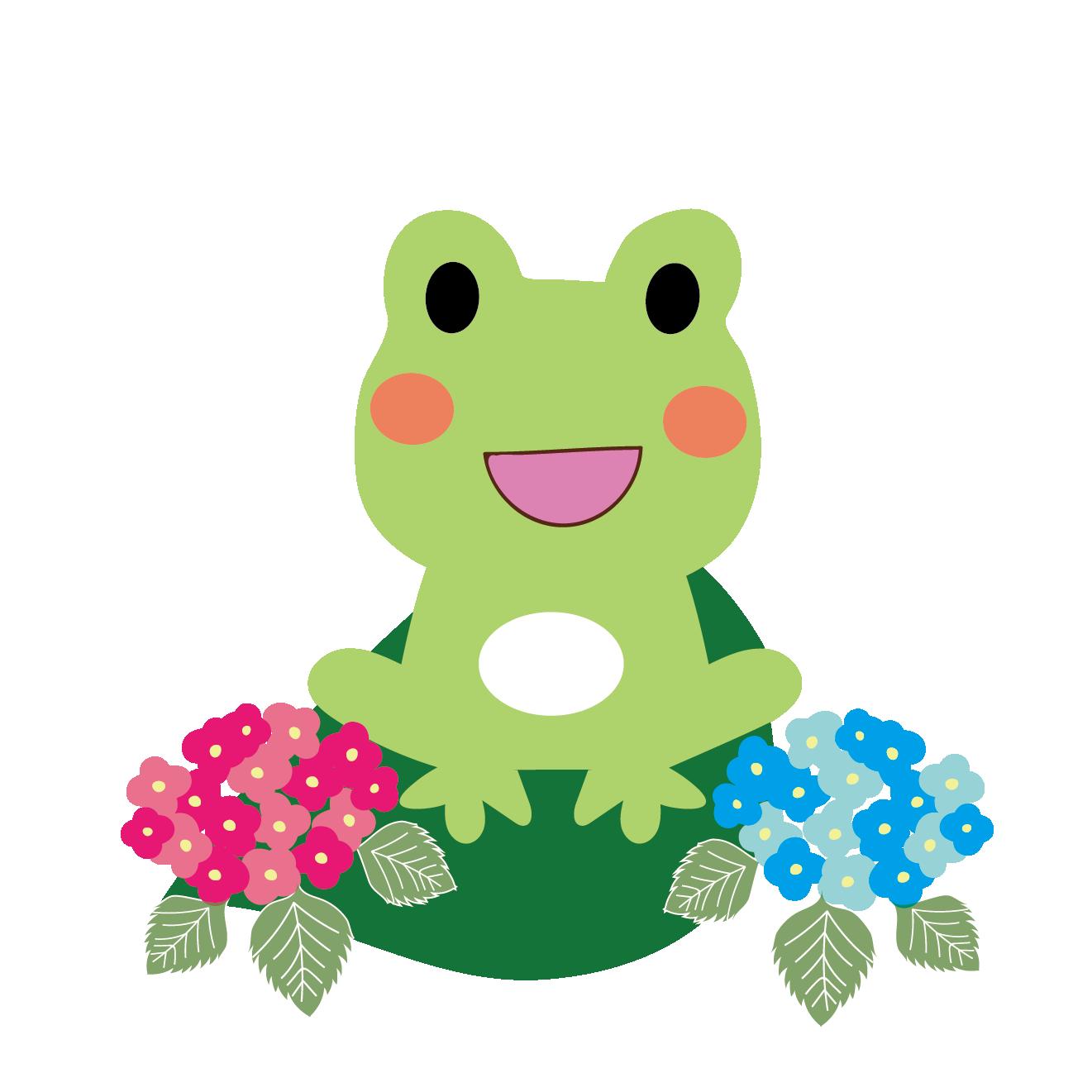 ニコニコ蛙(カエル)と紫陽花のイラスト【梅雨】