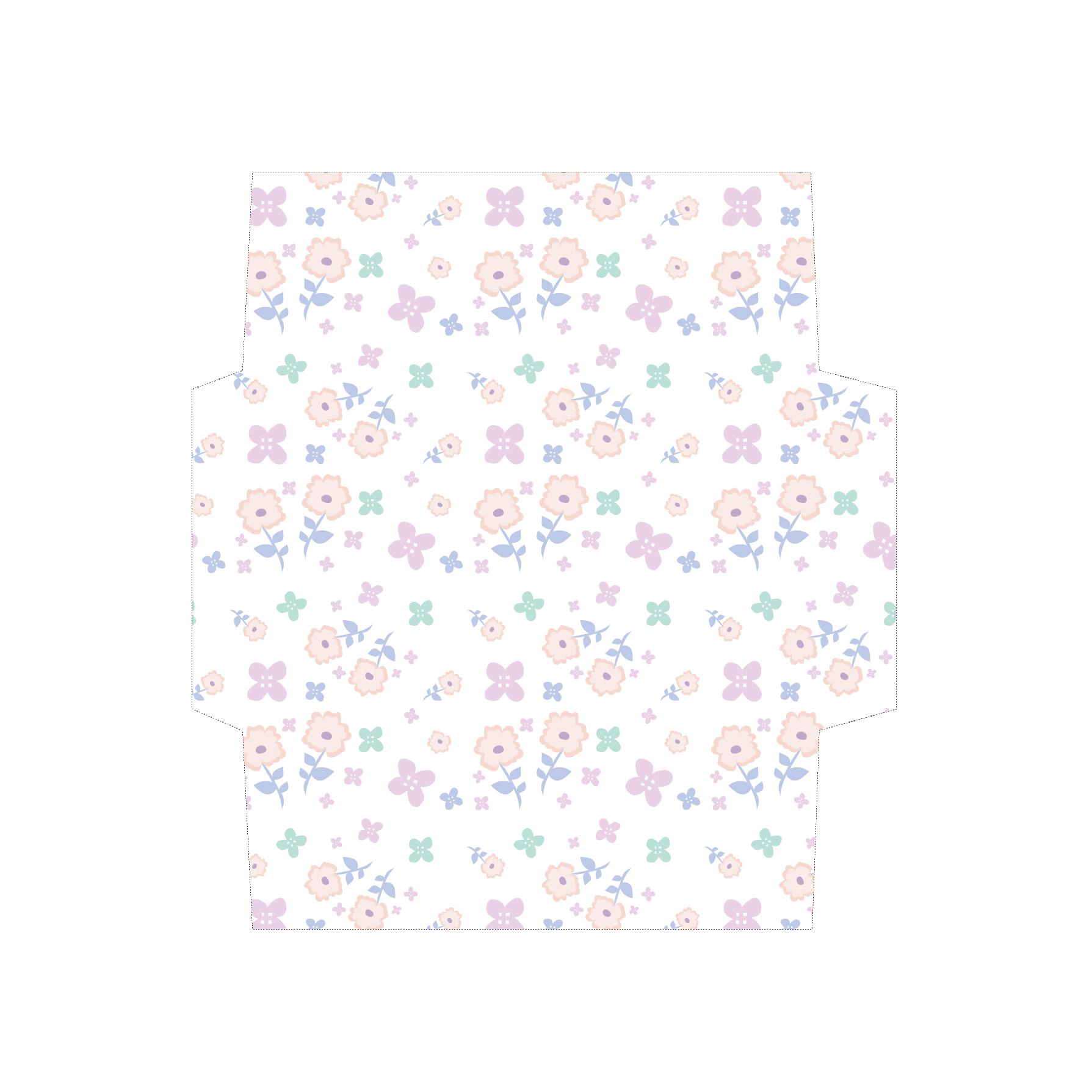 花柄のかわいい封筒(パステルホワイト)のテンプレート イラスト