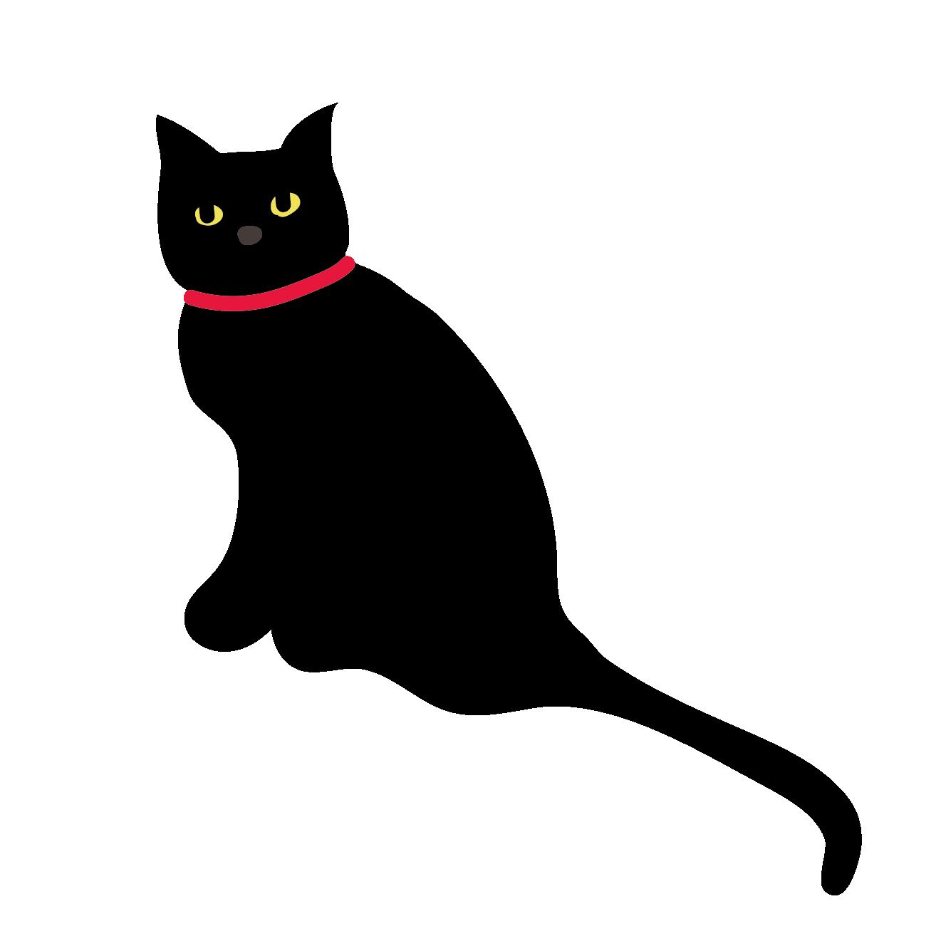 黒猫ネコのイラストクールな表情 商用フリー無料のイラスト