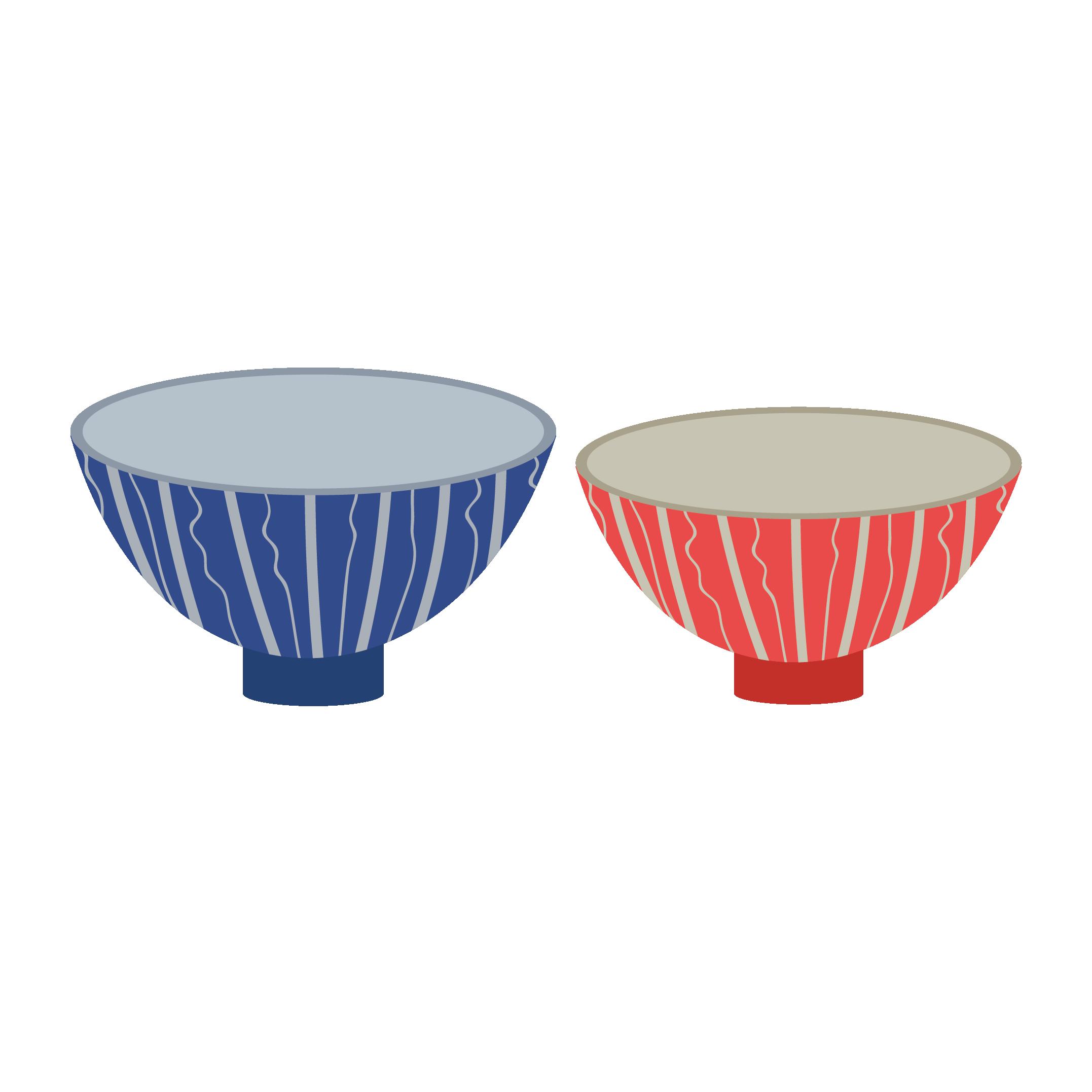 お茶碗 (夫婦茶碗)のイラスト