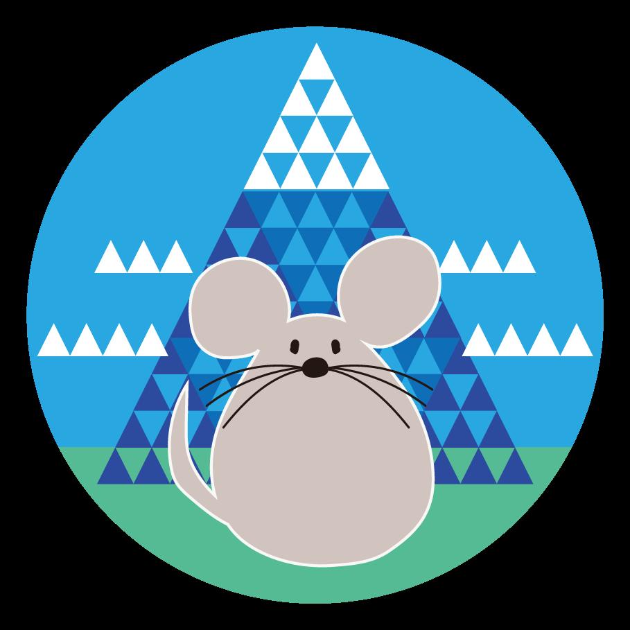 年賀状 2020年 子年(ネズミ年)と おしゃれ 富士山 !  無料 イラスト