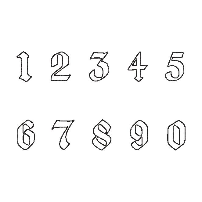 かっこいい♪白抜きの数字 ナンバー スタンプ (白黒