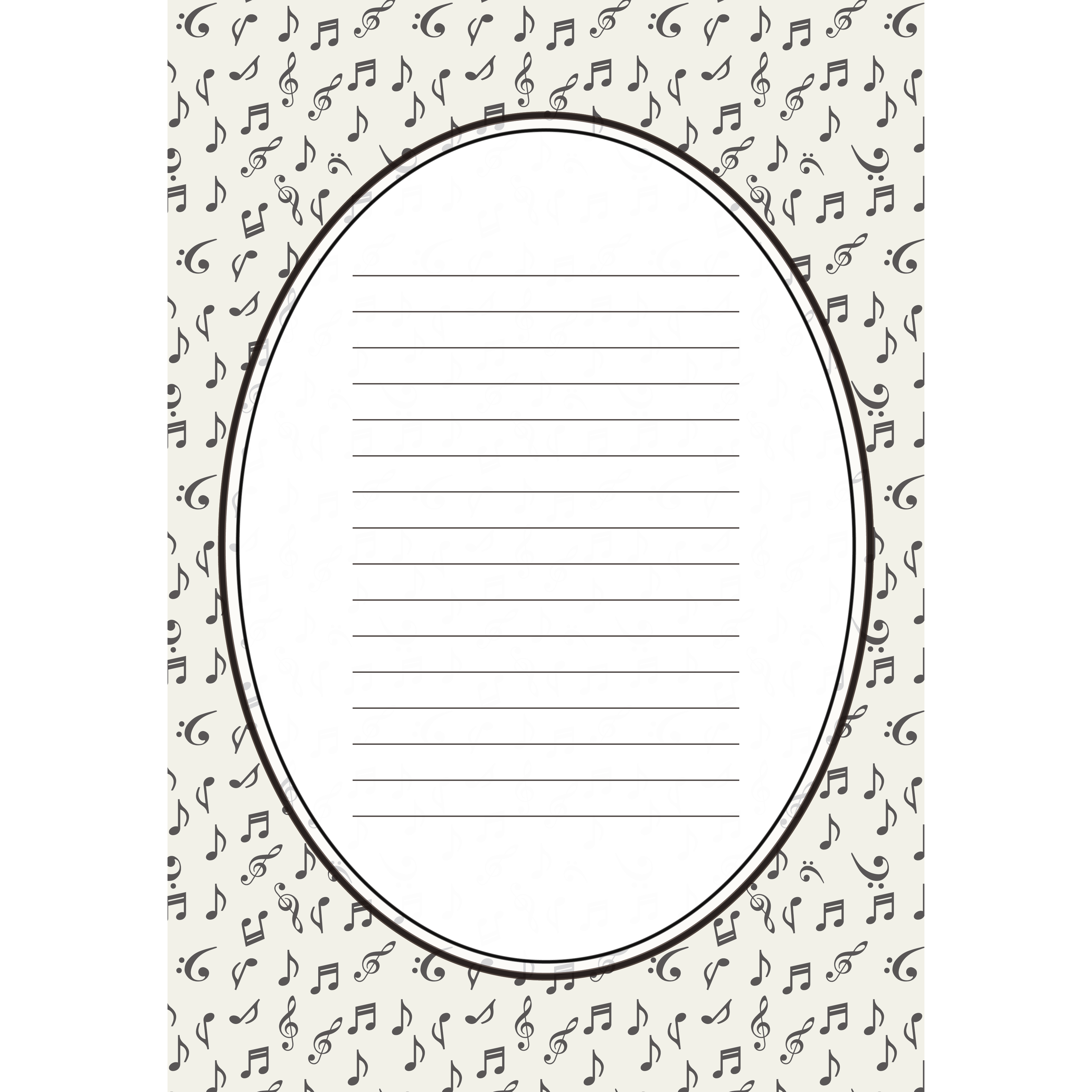 便箋 テンプレート 音符柄のモノトーン イラスト 商用フリー無料の