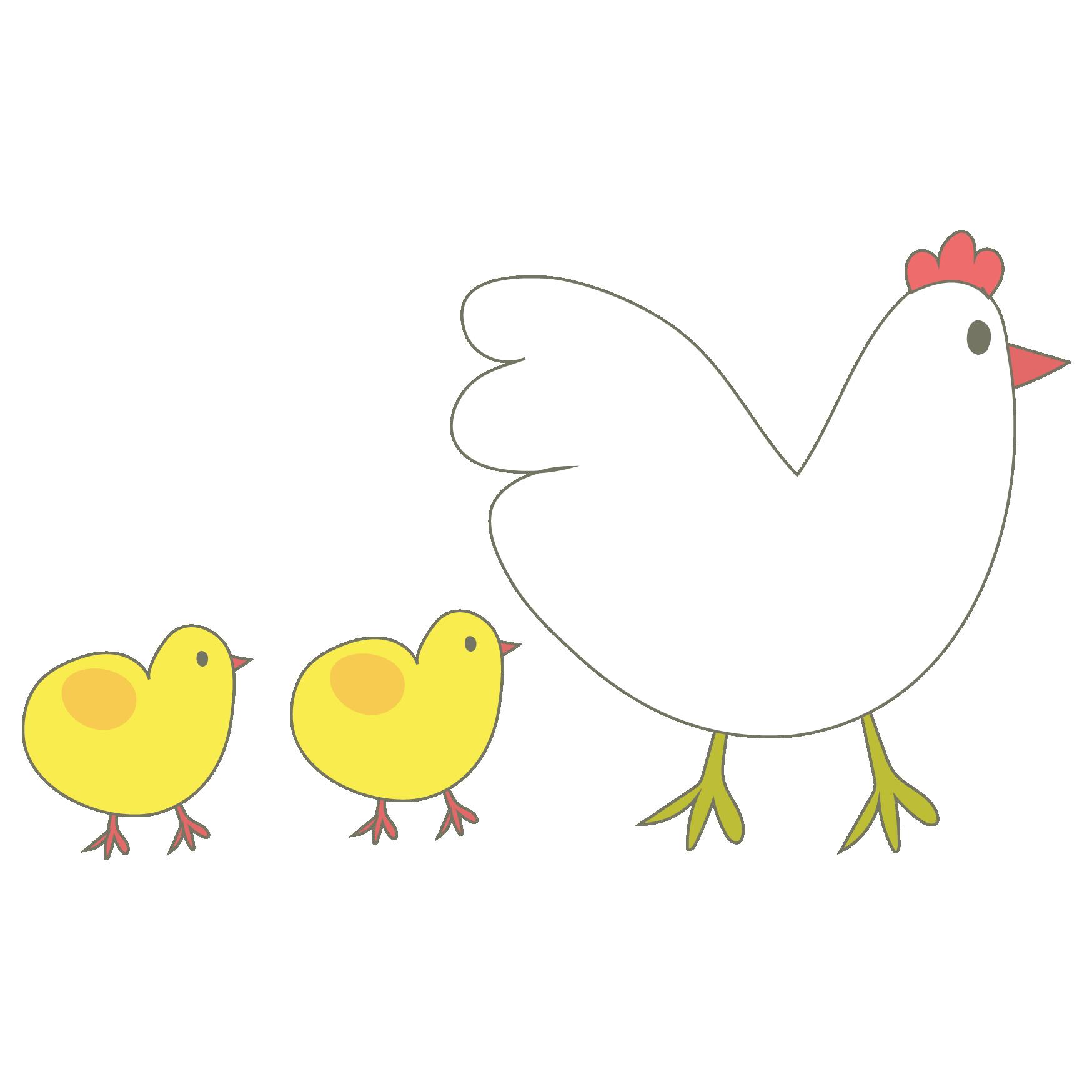 かわいい鶏とヒヨコの親子 イラスト 2017年酉年 商用フリー無料の