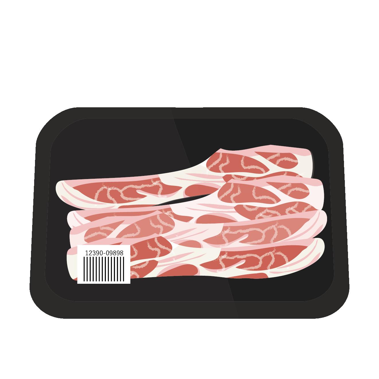 豚肉!パック入り 美味しそうな豚肉の薄切りイラスト【お肉】