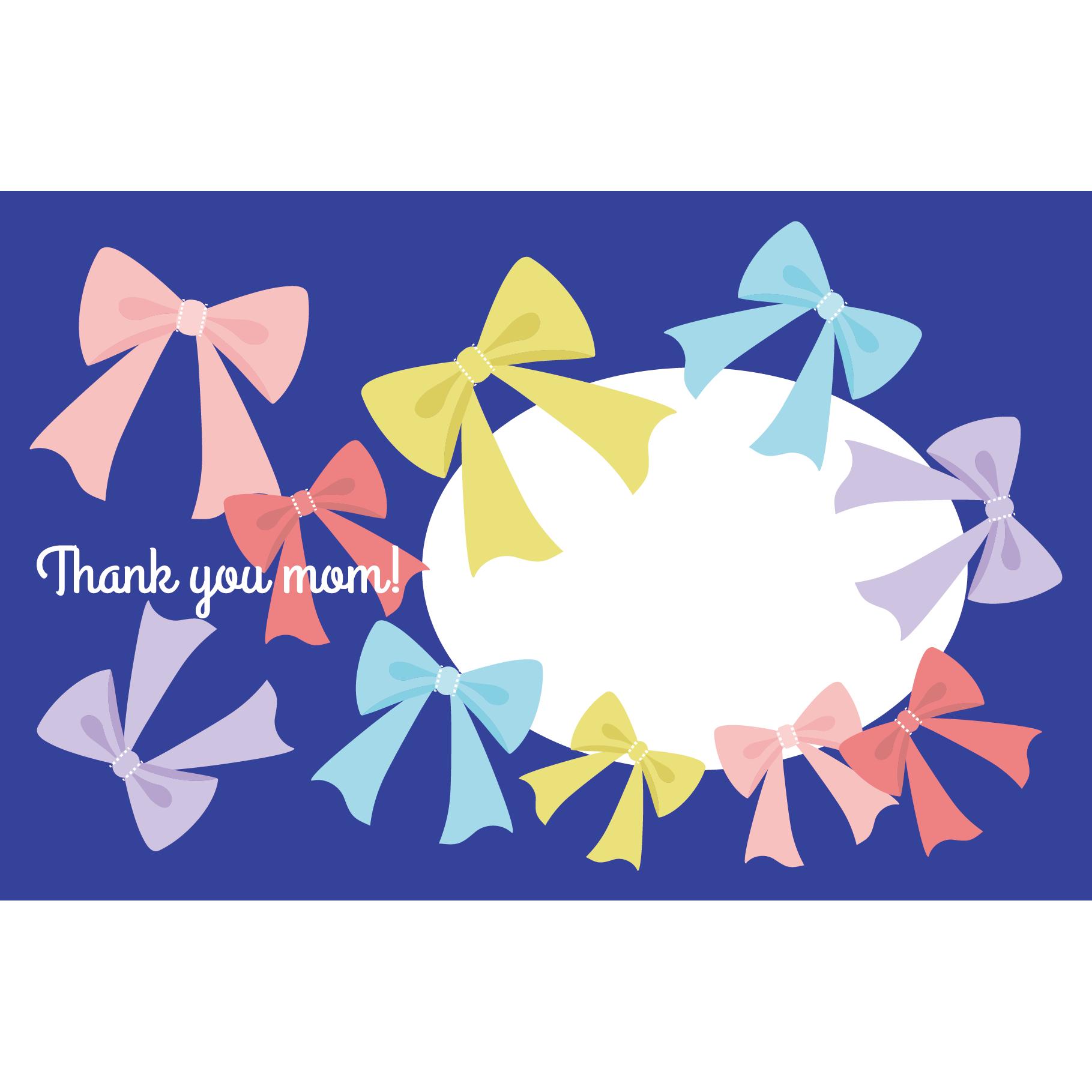 リボン柄の 母の日 メッセージ カード 無料 イラスト